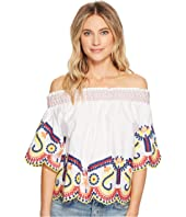 ROMEO & JULIET COUTURE Multi Embroidered Off the Shoulder Blouse