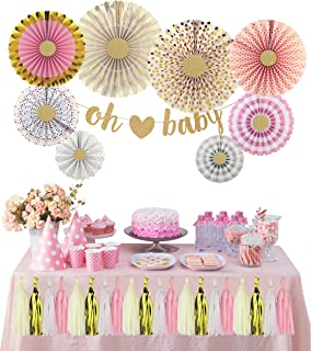 The Peacock Shop   Baby Shower Decoration Kit   Oh Baby   Gender Neutral   Girls   Nursery Décor   Gender Reveal   Pink and Gold Party Décor   Paper Fans   Hanging Tassels   Glitter Gold   Multi-Color