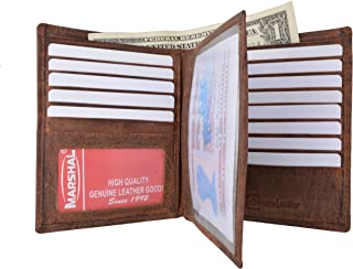 Marshal Bifold Genuine Leather RFID Blocking Wallet For Men Card Slots, 2 Bill Compartments, ID Windows, Money,