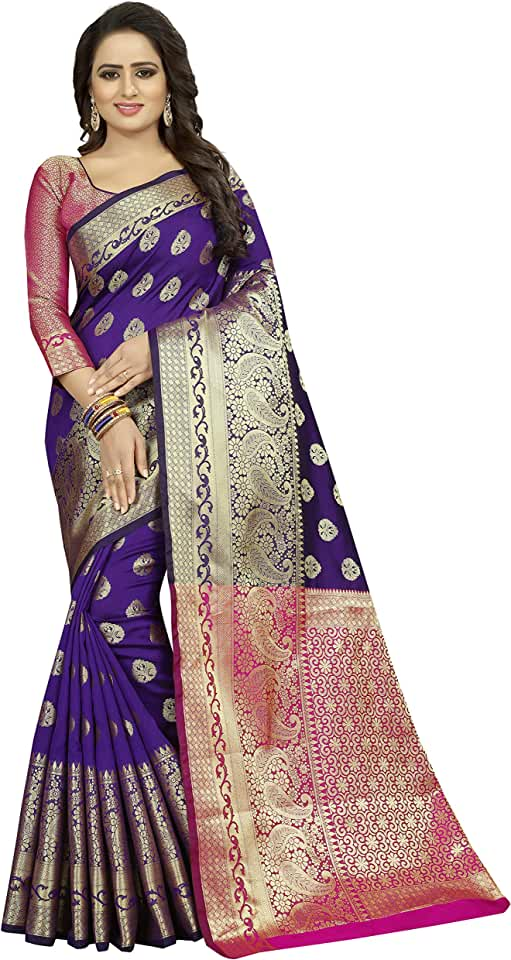 Indian satyam weaves women's ethnic wear jacquard cotton silk banarasi saree. (Laxmi) Saree