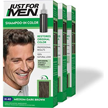 Just For Men Shampoo-In Color (Formerly Original Formula), Gray Hair Coloring for Men - Medium-Dark Brown, H-40, Pack of 3 (Packaging May Vary)