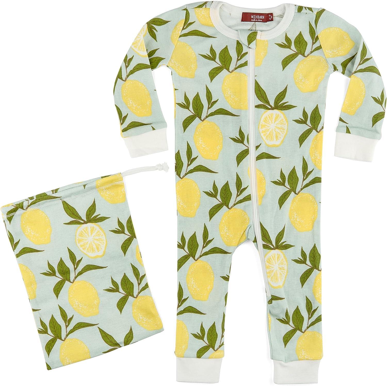 MilkBarn Organic Cotton Zipper Lemon - National uniform free shipping Pajama Lowest price challenge