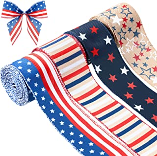 Juexica 4 Rolls Patriotic Wired Ribbon, Stars and Stripes Blue and Red Wired Ribbon USA Flag Themed Wired Edge Ribbon for ...