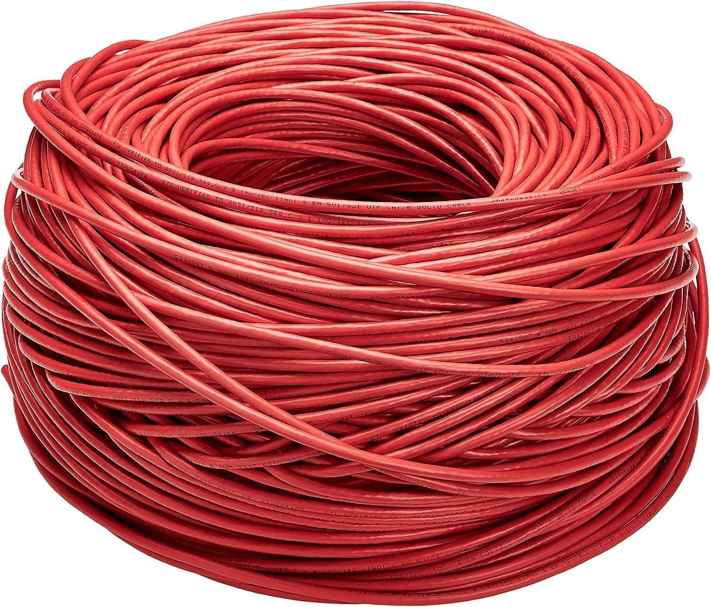 Amazon Basics - Cable de Ethernet liso Cat6, 23 AWG, UTP de 304,8 metros en Rojo
