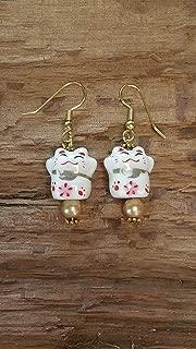 Happy Lucky Kitty Earrings - Gold Tones