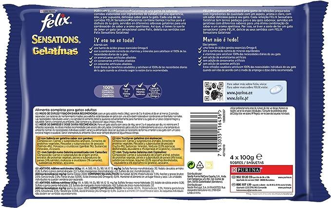 Purina Felix Fantastic Gelatina comida para gatos Selección Surtido de Verduras 10 x [4 x 100 g]