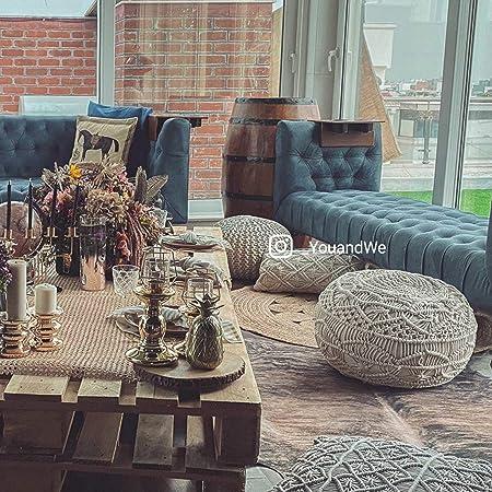 You and We Premium Attractive Macrame Pouf Pouffe Size-48x48x40 cm