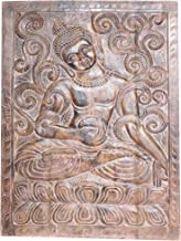 Mogul Interior Indian Vintage Sitting Buddha Wall Panel Hand Carved Wooden Wall Decor Wall Art Studio Decor