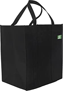 Tundra Tote Reusable Shopping Bags (5 Pack, Black) Hold Over 40 lbs, Extra Large, Heavy Duty Tote Bags with Long, Reinforced Handles and Removable Plastic Bottoms for Extra Strength and Ease of Use