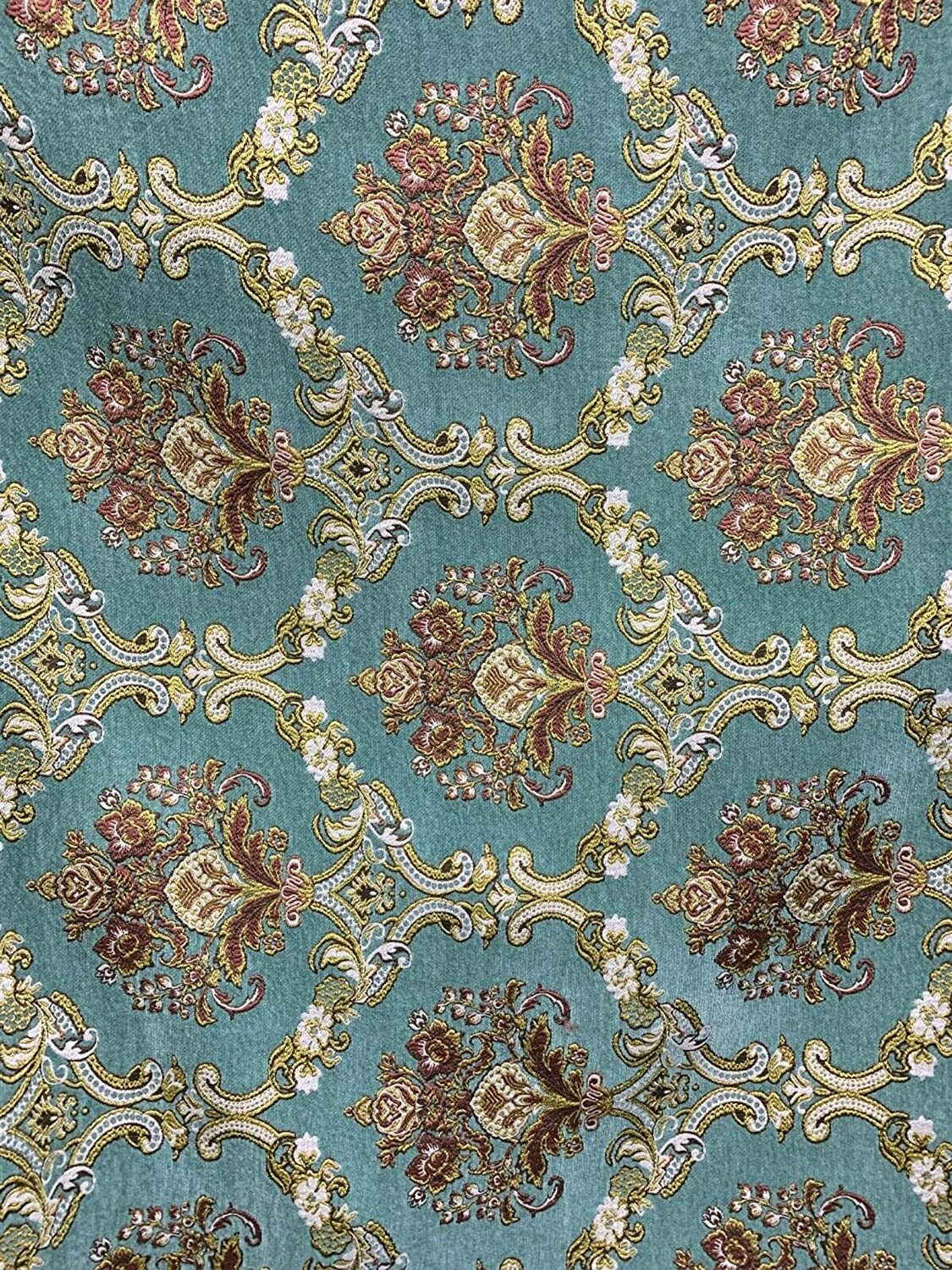 Light Teal Gold Damask Chenille in Brocade Upholstery Free shipping on posting reviews Fees free!! 54 Fabric