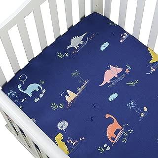 Brandream Dinosaur Crib Sheets Blue Baby Boys Toddler Sheet Set Cotton Ultra Soft Crib Mattress Covers for Bed