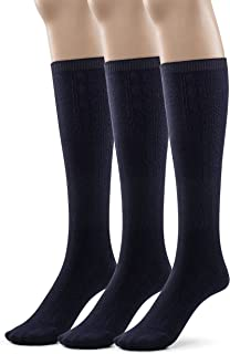 Girls 3 Pk Bamboo Casual Cabled Knee High Socks, School Uniform Colors