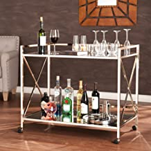 Maxton Rolling Bar Cart - 2 Large Open Display Shelves - Smooth Castors