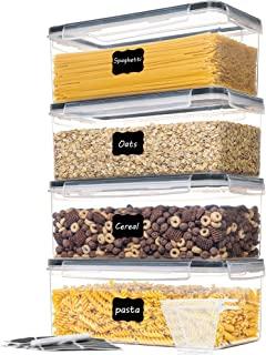 Vtopmart Lot de 4 boîtes de conservation hermétiques avec couvercles - 3,2 l - En plastique - Pour pâtes et nouilles longu...