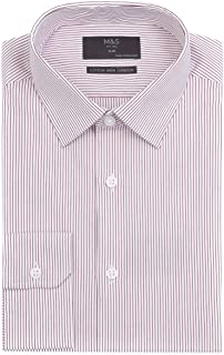 Marks & Spencer Men's Slim Fit Easy Stretch Iron Shirt, Red Mix