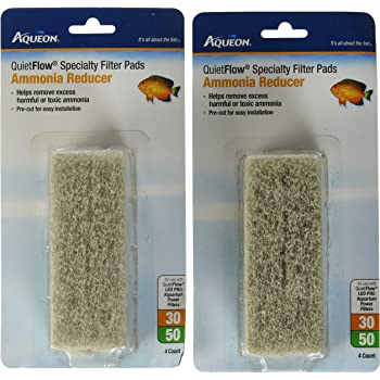 Aqueon Quiet Flow 30/50 Ammonia Reducing Specialty Filter Pads - Pack of 2 - 8 Pads Total
