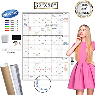 $33 » Large Dry Erase Wall Calendar 3 Month Calendar - Blank Undated Reusable Quarterly Calendar - Whiteboard Premium Laminated ...