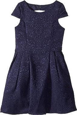 Cap Sleeve Cut Away Back Skirt w/ Pleat (Big Kids)