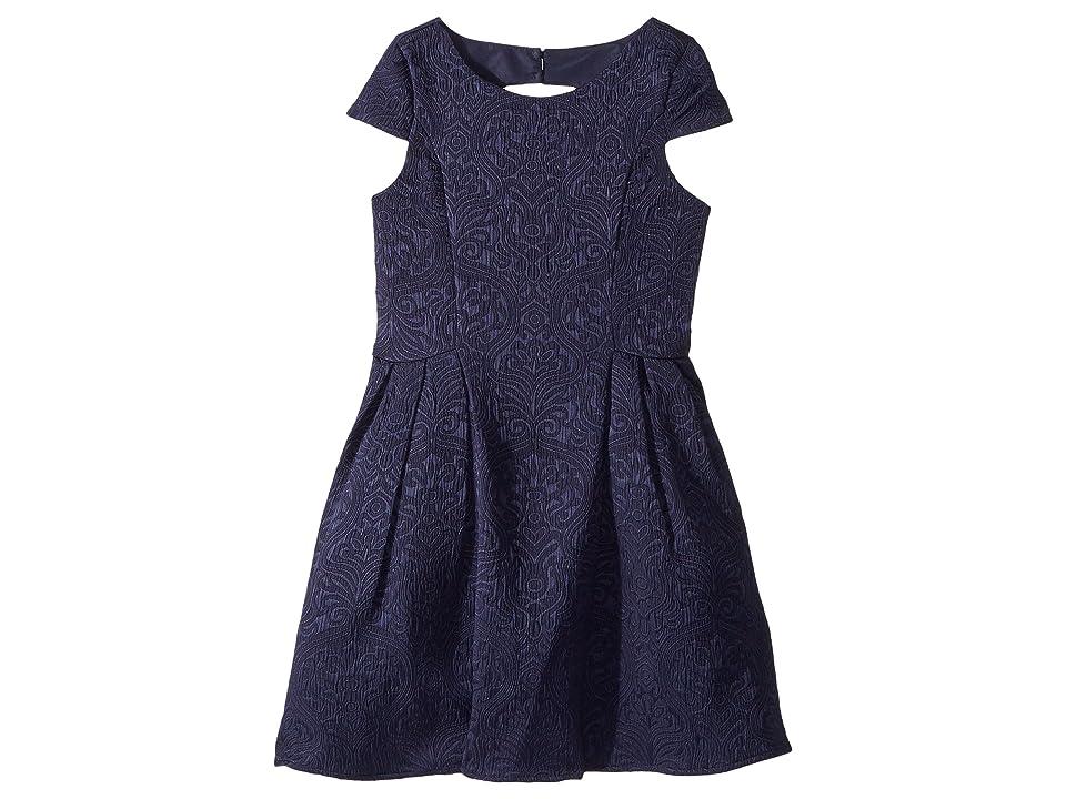 Us Angels Cap Sleeve Cut Away Back Skirt w/ Pleat (Big Kids) (Navy) Girl