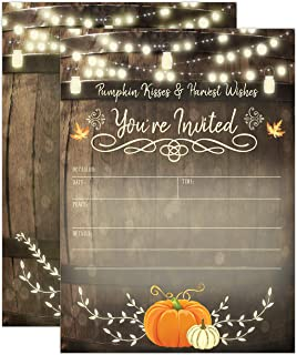 Rustic Fall Baby Shower Invitations, Fall Bridal Shower Invitations, Engagement Party, Autumn Fall Leaves Invite, Little Pumpkin, 20 Fill in Style with Envelopes