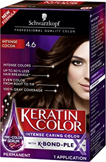 Schwarzkopf Keratin Color Permanent Hair Color Cream, 4.6 Intense Cocoa (Packaging May Vary), 1 Count
