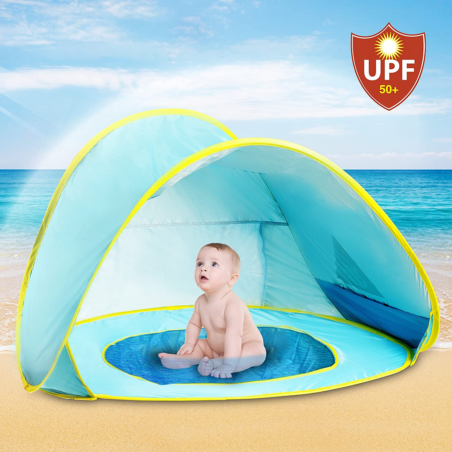 Hippo Creation UV Predection Baby Beach Tent with Pool, Popup Sun Canopy Shelter, Kiddie Beach Umbrella, Excellent for Infant and Kid up to 3 Years Old