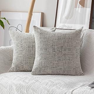 Home Brilliant Decorative Accent Pillow Case Striped Chenille Plush Velvet Cushion Cover for Sofa 2 Pack 18x18-inch (45cm)...