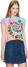 Liquid Blue Women's Grateful Dead Spiral Bear Rainbow Tie Dye Graphic Tee