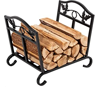 Patavin Fireplace Log Holder Wrought Iron Fire Wood Stove Stacking Rack Firewood Storage Carrier, Foldable Storage Carrier of Wood for Outdoor Indoor Fire Pit
