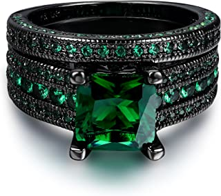 Double Fair Womens Black Gold 18K Vintage Rings Set Emerald CZ Stone Engagement Gifts Wedding Bands Rings Set