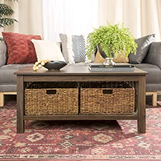 WE Furniture Rustic Wood Rectangle Coffee Accent Table Storage Baskets Living Room, 40 Inch, Dark Walnut