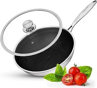 Wok avec couvercle passant au four – Anti-rayures Cuisine Essentiels de la maison – pour sauter, rôtir, griller – Grande p...
