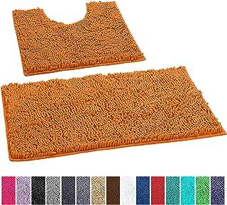 LuxUrux Bathroom Rugs Luxury Chenille 2-Piece Bath Mat Set, Soft Plush Anti-Slip Shower Rug +Toilet Mat.1'' Microfiber Shaggy Carpet, Super Absorbent Machine Washable Bath Mats (Curved Set, Orange)