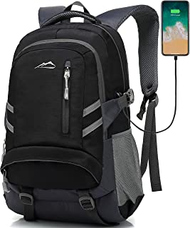Backpack Bookbag for School Student College Business Travel with USB Charging Port Fit Laptop Up to 15.6 Inch Night Light Reflective Anti Theft (Black & Dark Grey)