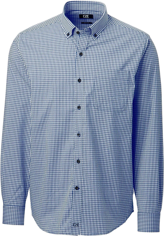 Cutter & Buck Men's Big & Tall Long Sleeve Anchor Gingham Button Up Shirt