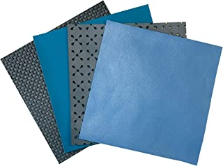 Perforated Sheepskin Leather for Jewelry: 4 Gray-Blue Lambskin Hide Sheets for Crafts 5x5In/ 12x12cm