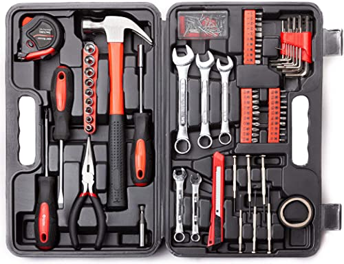 Cartman 148-Piece Tool Set - General Household Hand Tool Kit with Plastic Toolbox Storage Case, Socket & Socket Wrenc...