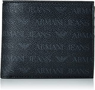 Armani Jeans Mens Small All Over Logo Pu Bi Fold Wallet with Coin Pocket