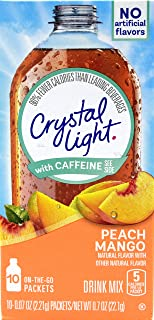Crystal Light On The Go Peach Mango With Caffeine Drink Mix, 10-Packet Box (Pack of 9)