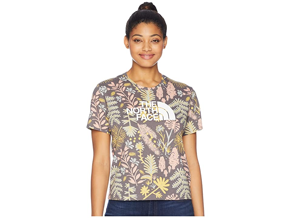 The North Face Short Sleeve All Over Print Crew Tee (Medieval Grey Woodland Floral Print) Women