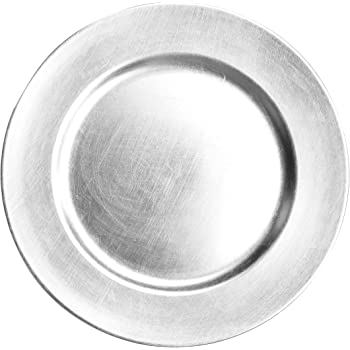 USA Party Flower 13 Inch Elegant Hand Brushed Finish Plastic Charger Plate Set of 12 (Silver)