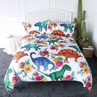 ARIGHTEX Cartoon Dinosaur Blue Green Duvet Cover Queen Teen Boys Bedding Kids Dino Themed Bedspread 3 Pieces