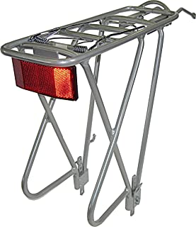Biria Bike Rear Rack, Aluminum 3 Leg Rear Bike Rack with Spring, Bike Cargo Rack,Silver, Reflector Included