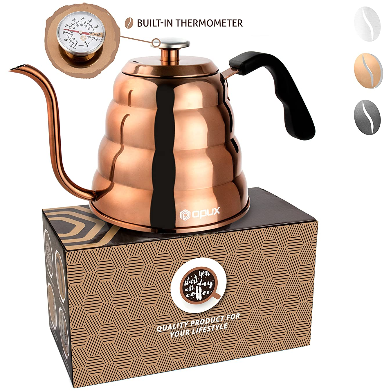 OPUX Gooseneck Pour Over Coffee Kettle with Thermometer | Premium Grade Stainless Steel Drip Kettle for Home Coffee Brewing, Tea, Barista | 40 fl oz (Glossy Copper, Solid Top)