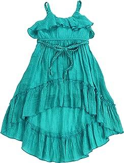 LELEFORKIDS - Toddlers and Girls (2T-7/8) Beach Beauty Ruffle High-Low Airy & Light Gauze-Cotton Dress