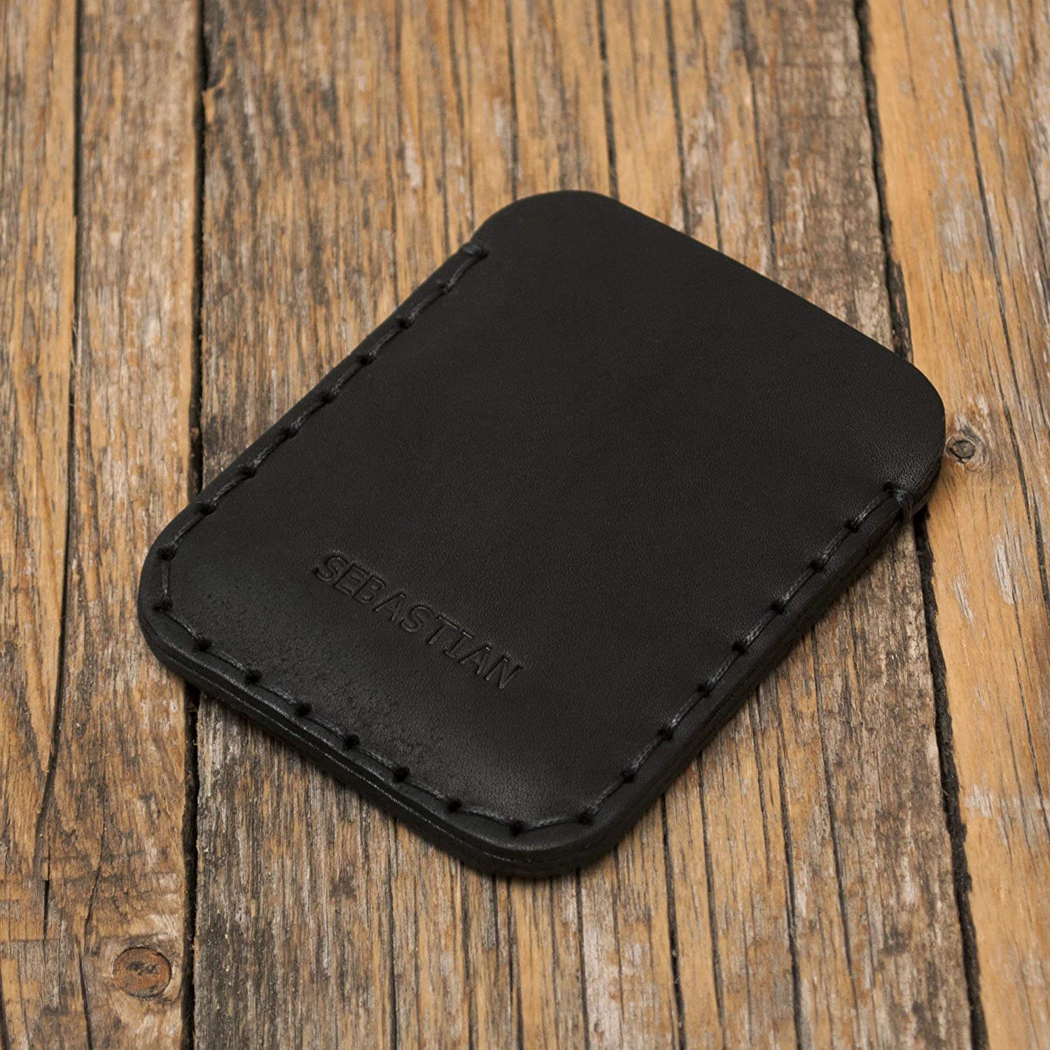 PERSONALIZED Black Leather Wallet. Credit Sale Cash or ID Card Ranking TOP14 Holde