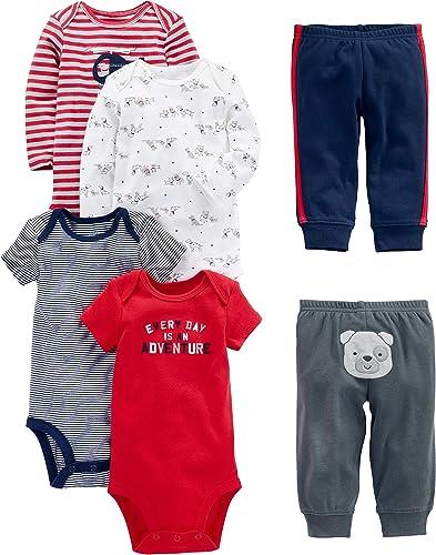 Simple Joys by Carter's 6-Piece Bodysuits (Short Long Sleeve) and Pants Set Bébé garçon, Lot de 6