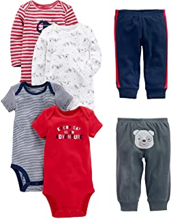Boys' 6-Piece Bodysuits (Short and Long Sleeve) and Pants...