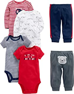 Simple Joys by Carter's Baby Boys' 6-Piece Bodysuits (Short and Long Sleeve) and Pants Set