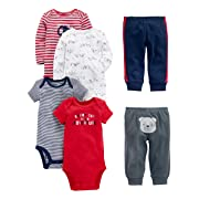 Simple Joys by Carter's Baby Boys 6-Piece Little Character Set, Red/Navy Bear, 0-3 Months